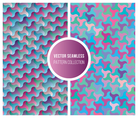 tiling: Set of Two Vector Seamless Pink Blue Gradient Geometric Pattern Tiling Collection