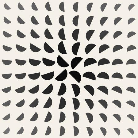 Vector Black and White Half Circle Radial Rotation  Geometric Pattern