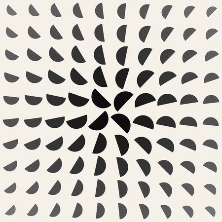 Vector Black and White Half Circle Radial Rotation  Geometric Pattern