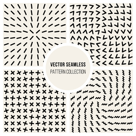 Set of Four Vector Seamless Black and White Geometic Shape Grid Pattern Collection