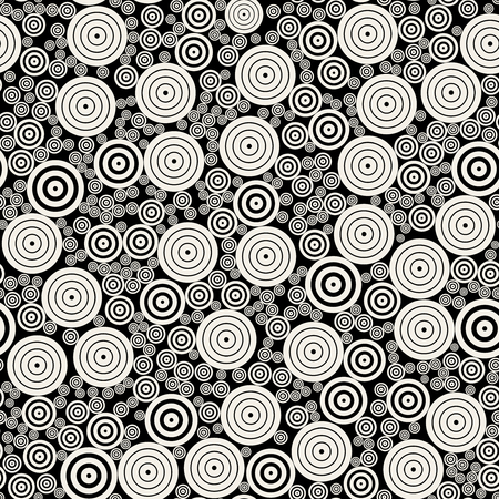 Vector Black and White Concentric Circles Mosaic Jumble Seamless Pattern Background