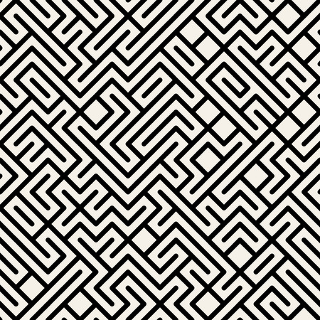 Vector Black and White Maze Geometric Seamless Pattern Background