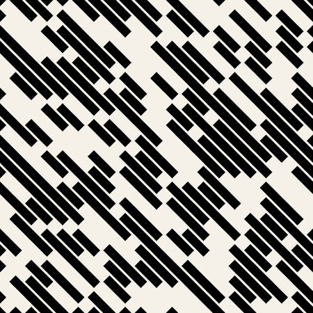 Vector Black and White Diagonal Lines Geometric Seamless Pattern Background, Stock Illustratie