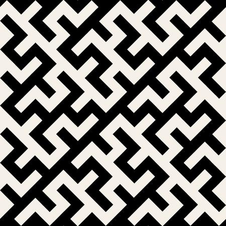 黒と白のベクトルの迷路飾りのシームレスなパターン背景