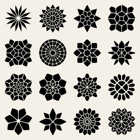 Vector Black And White Mandala Lace Ornaments Collection Design Elements