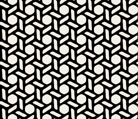 knotting: Vector Black and White Hexagonal Knotting Seamless Geometric Pattern Background