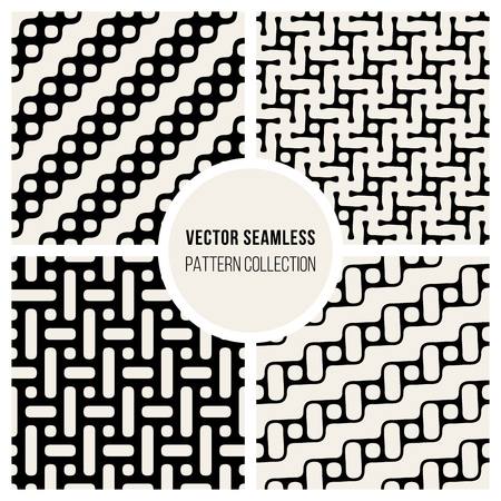 Set of four Vector Seamless Black and White Geometric Pattern Collection