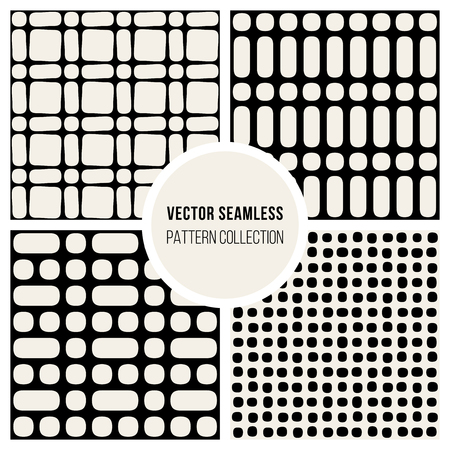 wite: Set od FourVector Seamless Black and Wite Geometric Pattern Collection Tiling Background Illustration