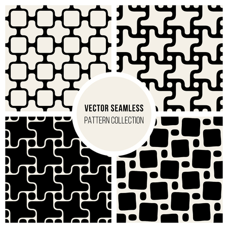wite: Set od Four Vector Seamless Black and Wite Geometric Pattern Collection Tiling Background