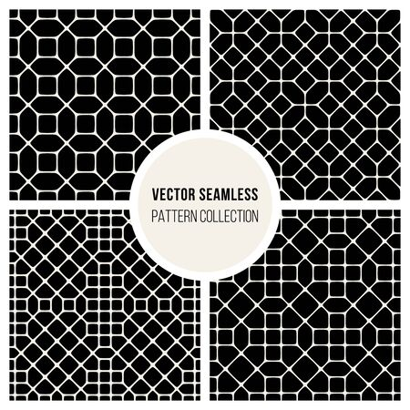od: Set od Four Vector Seamless Black and White Geometric Pattern Collection Tiling Background