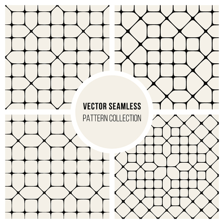 Set od Four Vector Seamless Black and White Geometric Pattern Collection Tiling Background