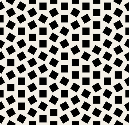 Vector Seamless Black And White Jumble Squares Rotation Pattern Background