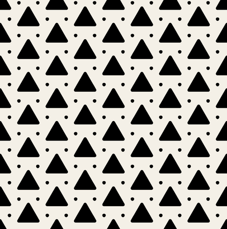 Vector Seamless Black And White Rounded Triangle Dots Pattern Background