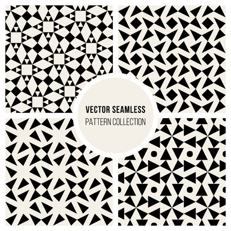 Vector Seamless Black and White Geometric Pattern Collection Background Tiling
