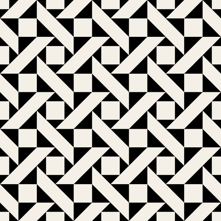 Vector Black and White Geometric Triangle Square Ornament Seamless Pattern Background