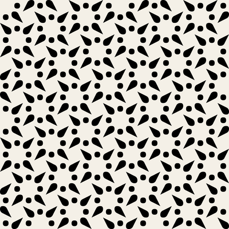 Vector Black and White Geometric Rounded Triangle Cone Star  Seamless Pattern Background