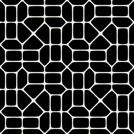 pavement: Vector Seamless Black And White Geometric Mosaic Pavement Pattern Background