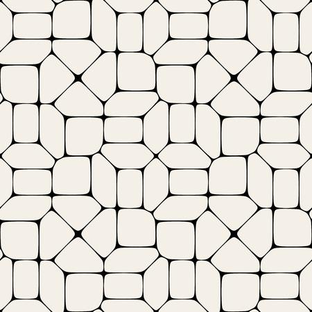 シームレスな黒と白の幾何学的モザイク舗装パターンのベクトルの背景