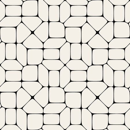 Vector Seamless Black And White Geometric Mosaic Pavement Pattern Background