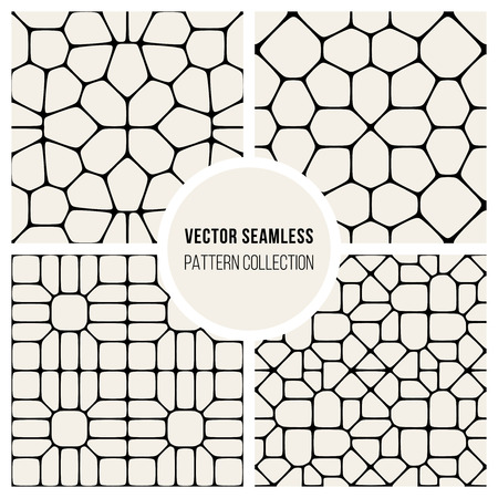 Set of Four Vector Seamless Black And White Geometric Mosaic Pavement Pattern Background