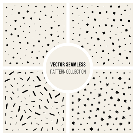 Set of Four Vector Seamless Black And White Jumble Line Dot Square Asterisk Particles Pattern Collection Background