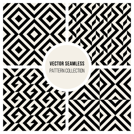 four texture: Set of Four Vector Seamless Black And White Chevron Geometric Pattern Square Diagonal Lines Background Texture Illustration