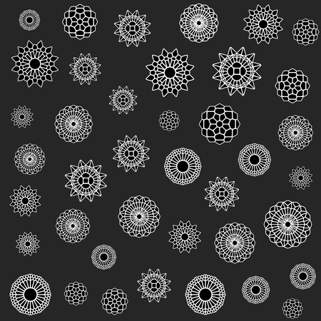 flower ornament: Vector Seamless Black And White Jumble Ornament Mandala Flower Ornament Pattern Background Design Elements Illustration