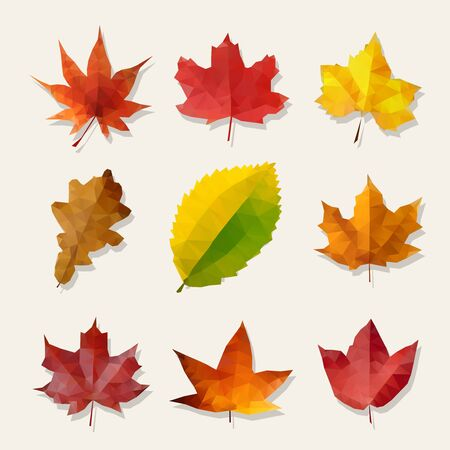 Set of Nine Vector Low Poly Yellow Orange Red Autumn Leaves Design Elements