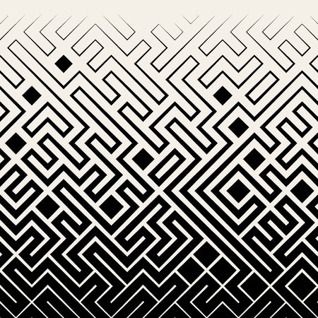 Vector Seamless Black & White Square Maze Lines Halftone Pattern Background Çizim