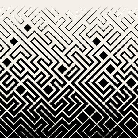 Vector Seamless Black & White Square Maze Lines Halftone Pattern Background Vettoriali