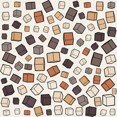 jumble: Vector Seamless Brown Box Cube Random Scale Jumble Pattern Background