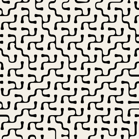 Vector Seamless Organic Maze Rounded Line Pattern Background Vettoriali