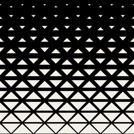Vector Seamless Black And White Triangle Grid Halftone Pattern Background Vettoriali