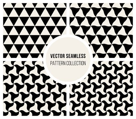 morphing: Vector Seamless Black And White Morphing Triangle Rounded Pattern Collection Background Illustration