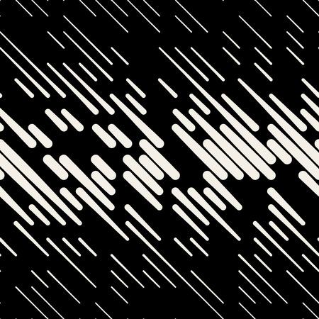 Vector Seamless Black & White Random Dash Diagonal Parallel Line Halfton Pattern Background Stock Illustratie