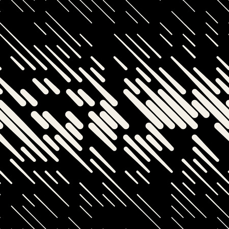Vector Seamless Black & White Random Dash Diagonal Parallel Line Halfton Pattern Background Illustration