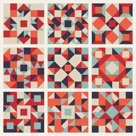 grid pattern: Set of Nine Vector Seamless Blue Red Orange Retro Geometric Ethnic Square Quilt Pattern Collection Background Elements Illustration