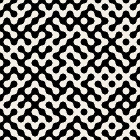laberinto: Vector transparente Negro y negro Truchet redondeado Círculo Cuadrícula Laberinto de medios tonos patrón de fondo