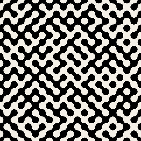Vector Seamless Black And White Truchet Rounded Circle Grid Maze Halftone Pattern Background Illustration