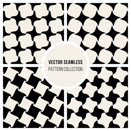 checker: Set of Four Seamless Black & White Geometric Checker Patterns Background