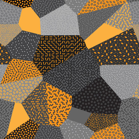 Seamless Patchwork Mosaic Quilt Pattern in Orange and Gray Background