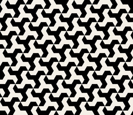 Seamless Black and White Hexagonal Triangle Shape Tiling Pattern Background