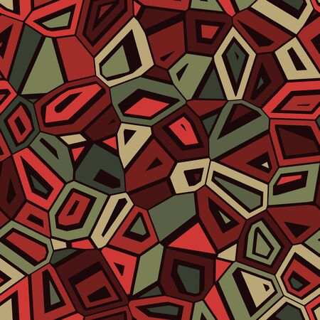 green and red: Vector Seamless Abstract Green Red Camouflage Mosaic Pattern Background Illustration