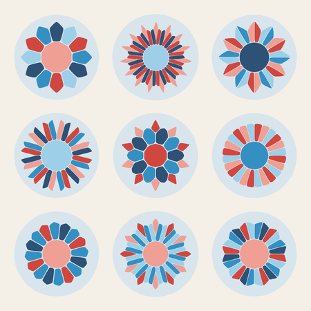 petal: Vector Floral Petal Shape Stars in Pink Red and Blue Design Elements Set