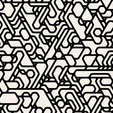 futuristic: Vector Seamless Black And White Futuristic Techno Alien Pattern Abstract Background
