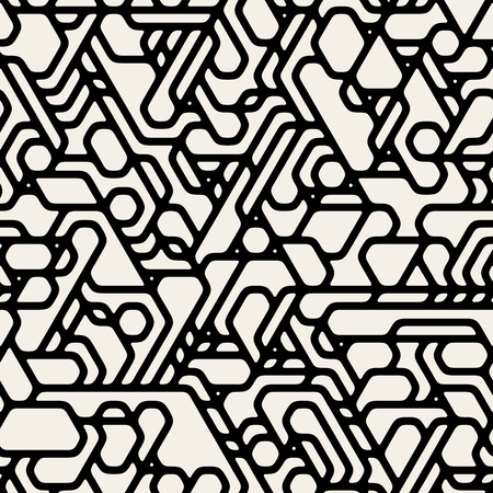 Vector Seamless Black And White Futuristic Techno Alien Pattern Abstract Background