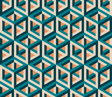 Vector Seamless Isometric Hexagonal Cube Structure  Vintage Pattern Abstract Background