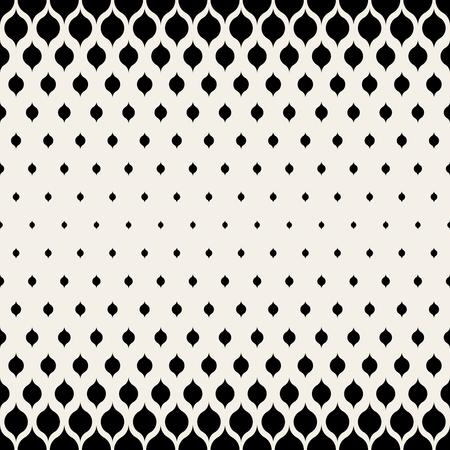 Vector Seamless Black & White Leaf Shape Halftone Pattern Background