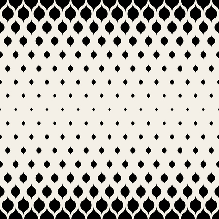 halftone: Vector Seamless Black & White Leaf Shape Halftone Pattern Background