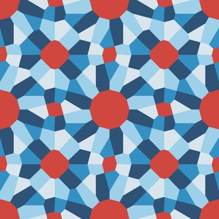tiling: Vector Seamless Blue Red Geometric Tiling Pattern Abstract Background
